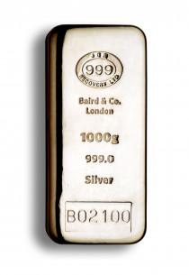 Baird Silver cast bar 1 kilo buy LBMA Good Delivery online