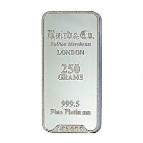 Platinum Investment Bar - 250 grams, 999.5% Pt