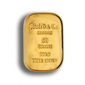 50 gram Gold Cast Bar, 99.99% Purity