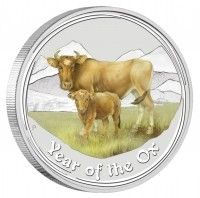 Buy Australian Lunar Series II 2009 Coloured Ox 1oz Silver Coin