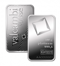 Buy 100 gram platinum Valcambi bar .999 Fine online